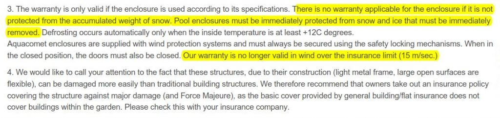 Typical Pool Shelter Warranties