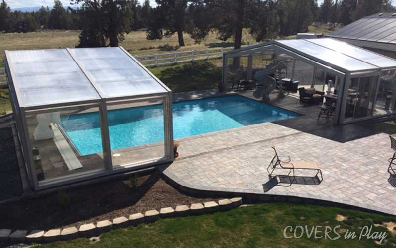 Open retractable Pool Enclosure