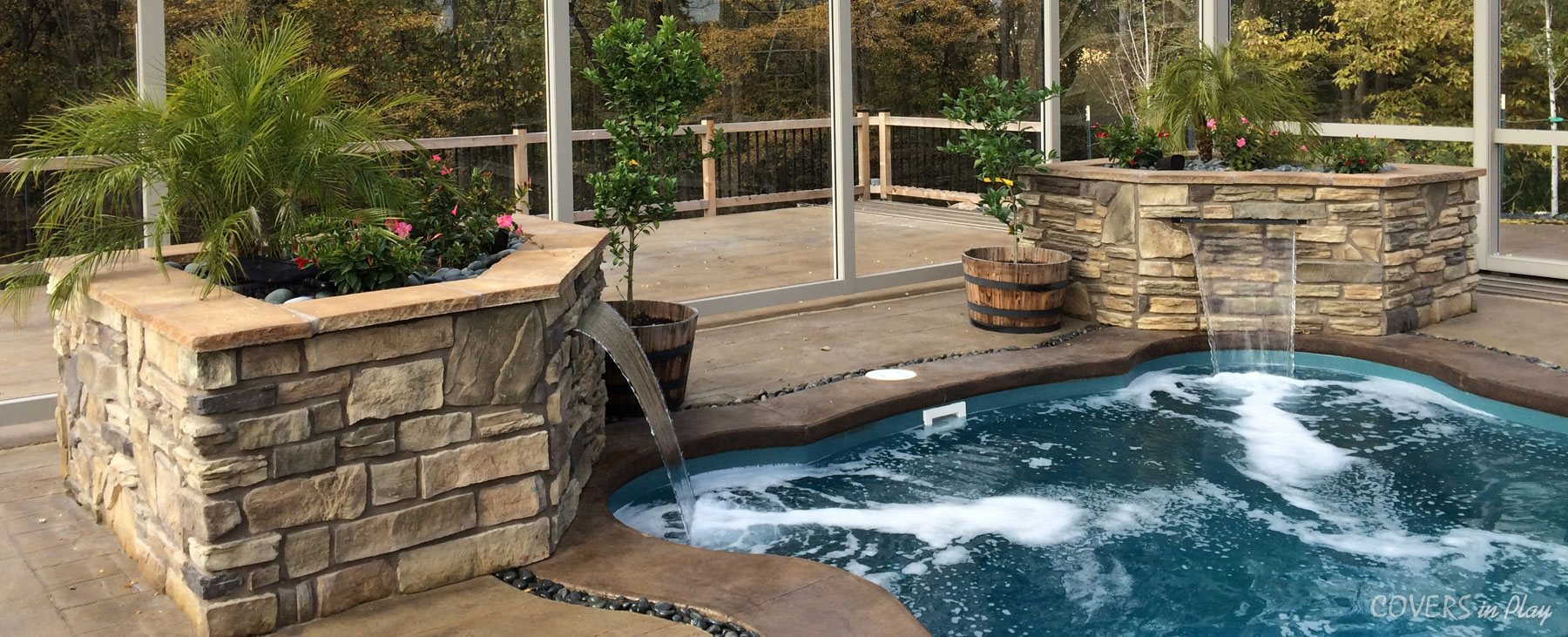 Covered Pool with waterfall