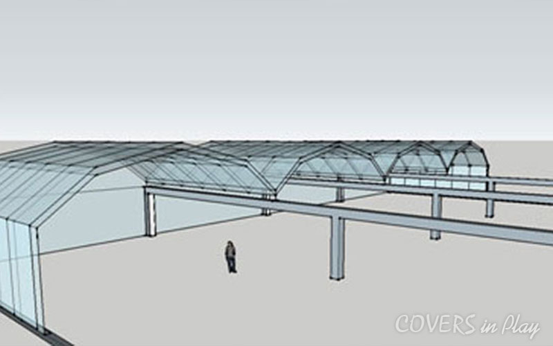 Pool Enclosures-Architectural concept model of Retractable Roof Enclosure