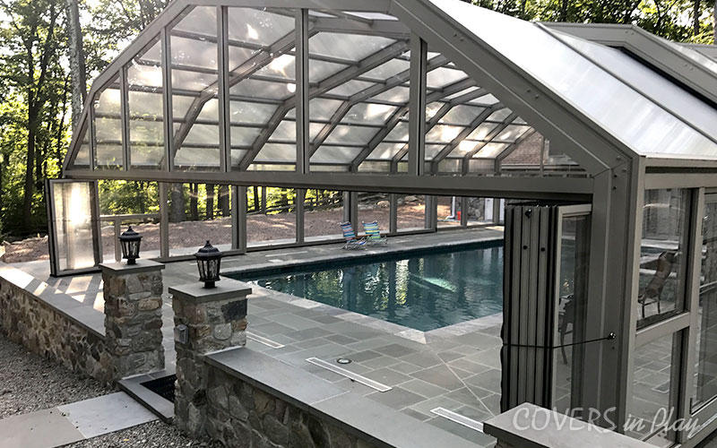 Retractable Pool Enclosure with Bifold doors