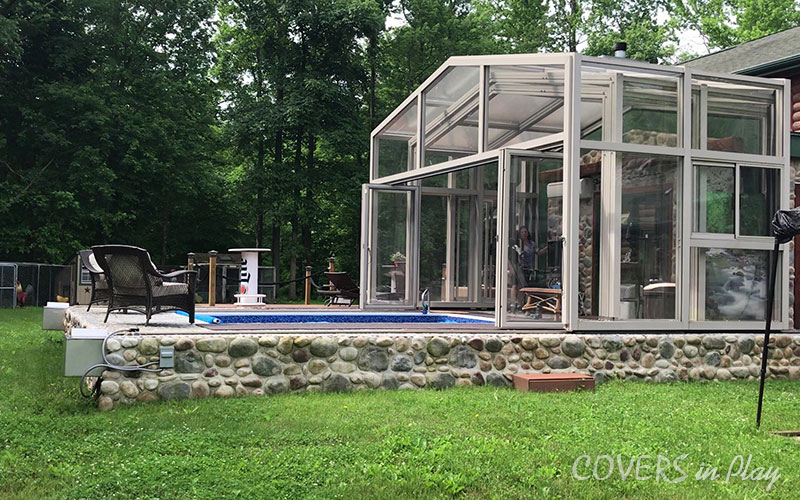 Trent New Jersey Pool Enclosure open
