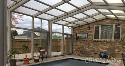 Entertainment space pool enclosure