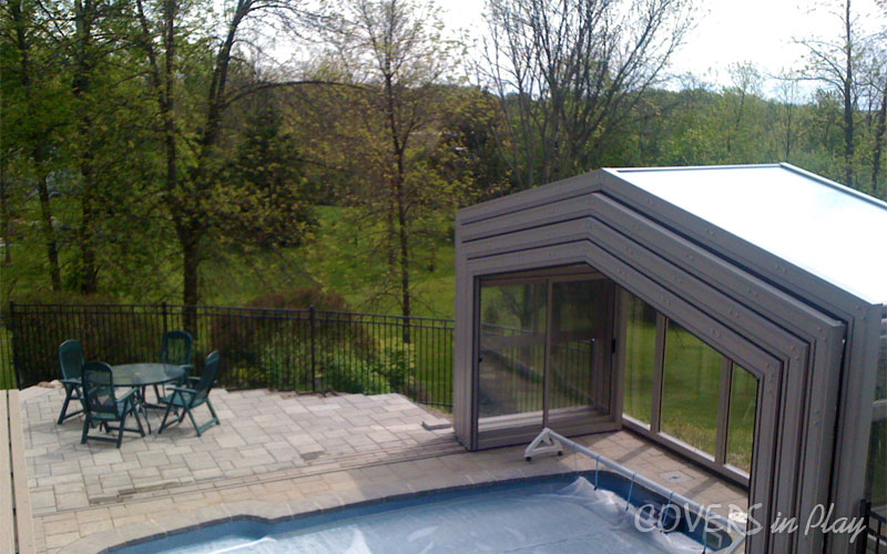 Opened Retractable Pool Enclosure